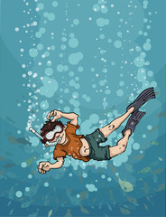 young diver boy, happy, under water