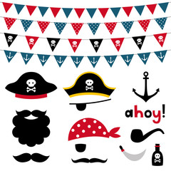 Pirate photo booth props and scrapbooking vector set