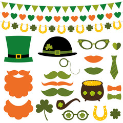 St. Patrick's Day design elements and photo booth props set