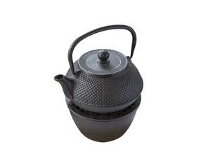 metallic kettle heated