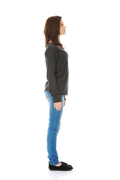 Woman standing from one side