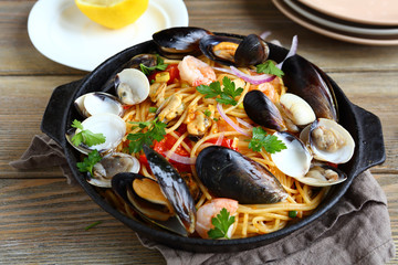 Pasta with seafood in a pan
