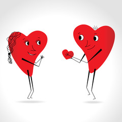Two hearts whit face and body - give heart - vector