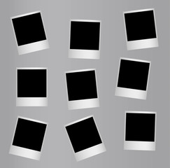 Randomly distributed retro blank photo frames