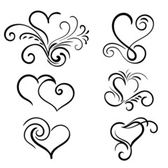 Hand drawn vector swirl heart elements