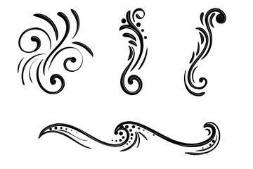 Hand drawn vector swirl flower elements