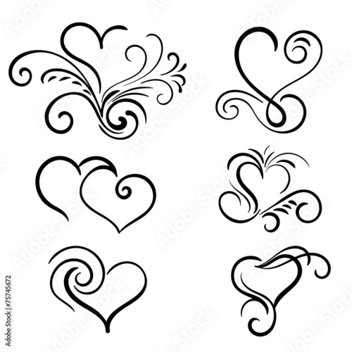quothand drawn vector swirl heart elementsquot stock image and