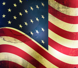 Retro vector background with usa flag and grunge effect