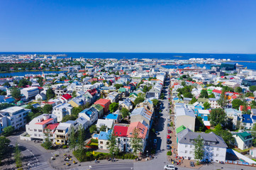 Beautiful super wide-angle aerial view of Reykjavik, Iceland