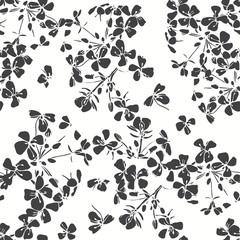 Floral seamless pattern. Hand-drawn black and white vector illus