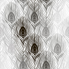 Seamless pattern with peacock feathers. Hand-drawn monochrome ve