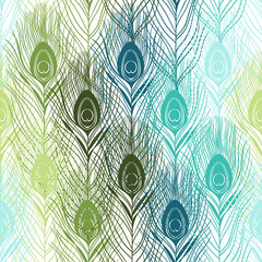 Seamless pattern with peacock feathers. Hand-drawn vector backgr