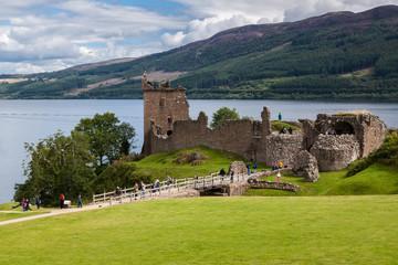Urquhart Castle beside Loch Ness in Scotland, UK.