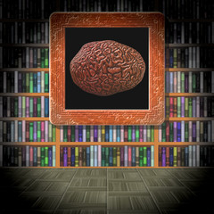 Brain in library room generated texture