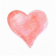 Hand-drawn red heart on white background