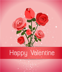 roses with a happy Valentine`s day card