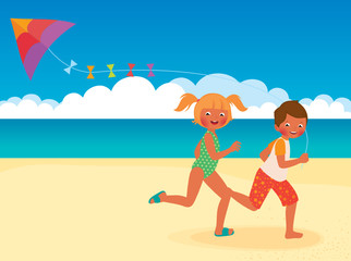 Children running with a kite on the beach
