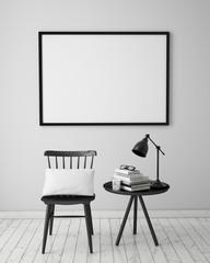 mock up poster in white scandinavian interior, background