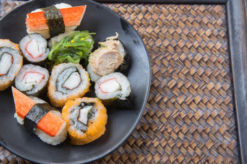Japanese seafood sushi on plate