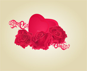 Roses and heart and ornaments vector