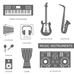 Musical instruments flat icons.