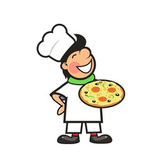 Happy Chef with a Freshly Baked Pizza