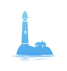 Blue Icon of Lighthouse