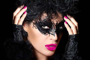 High Fashion Model in Creative Masquerade Eye Makeup