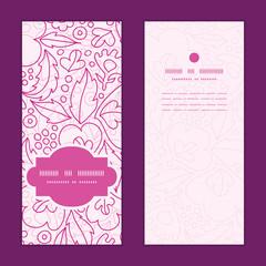 Vector pink flowers lineart vertical frame pattern invitation