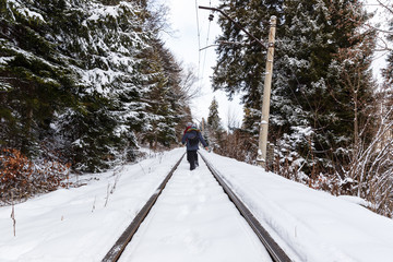 Children are on the narrow gauge railway