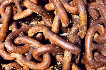 Rusty metallic chain