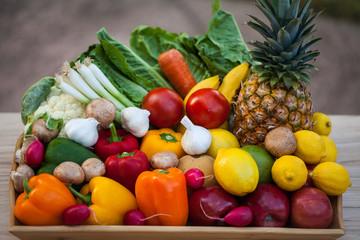 Assorted fresh fruits and vegetables