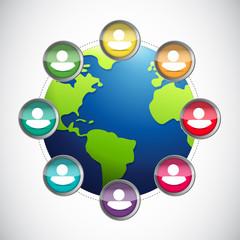 people diversity globe illustration design