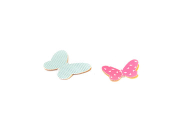 DIY paper Butterfly on White Isolate Background
