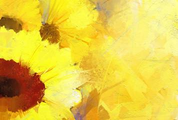 Oil painting  golden sunflower  background.