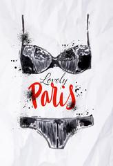 Paris poster black lingerie