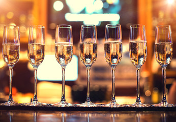 champagne flutes in holiday