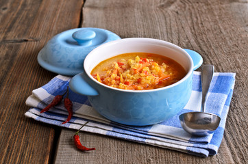 Soup of red lentils and vegetables