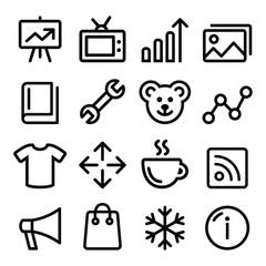 Web menu navigation line icons set - photo gallery, store