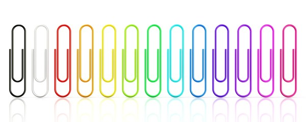 Colorful collection of paper clips isolated on white background