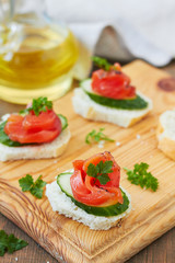 Canapes with smoked salmon and cucumber