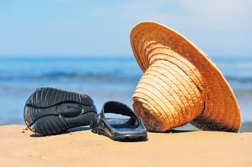 Hat and flip-flops