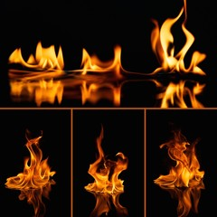 Set of fire flames on black