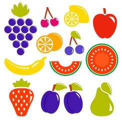 set isolated fruit icons