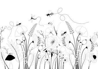 Seamless pattern with spring flowers and insects