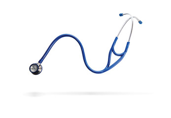 Blue Stethoscope Isolated On White With Shadows