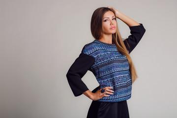 Portrait-style - professional model on a light background.