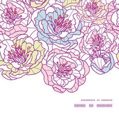 Vector colorful line art flowers horizontal frame seamless