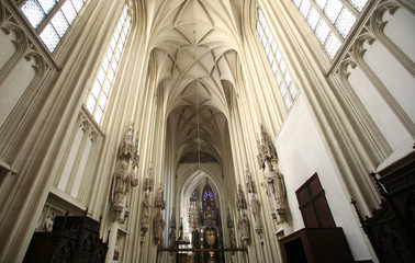 Interior of Maria am Gestade church in Vienna.
