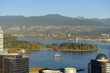 Vancouver Harbour, Stanley Park and Mount Fromme, BC Wall mural